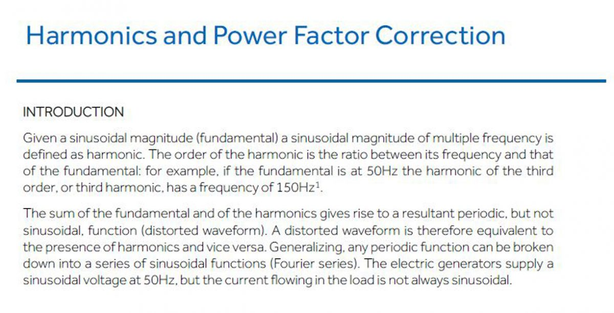 Harmonics and Power Factor Correction