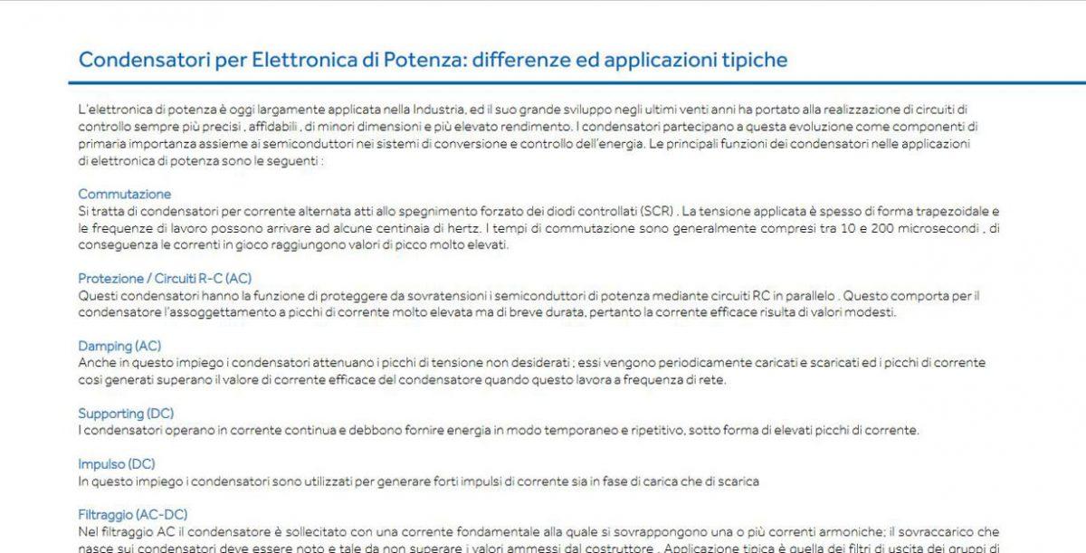 Condensatori per Elettronica di Potenza: differenze ed applicazioni tipiche