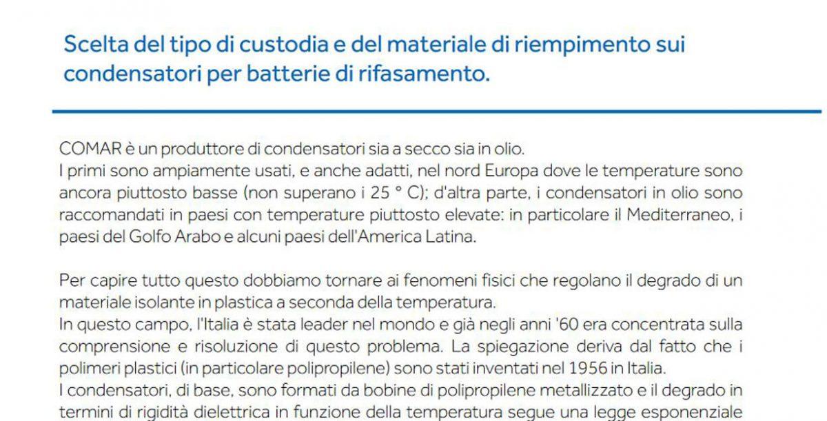 Scelta del tipo di custodia e del materiale di riempimento sui condensatori per batterie di rifasamento