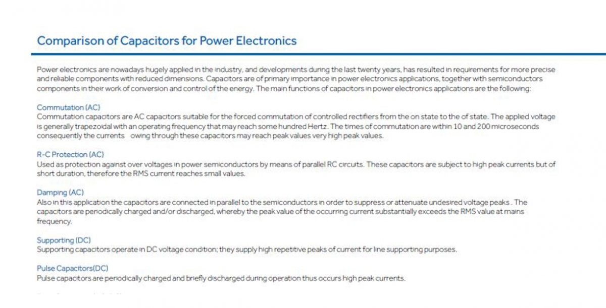 Comparison of Capacitors for Power Electronics