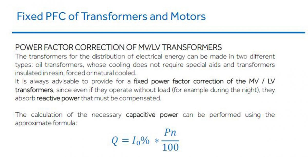 Fixed PFC of Transformers and Motors
